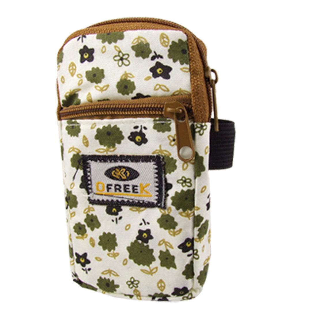 Phone MP3 Olive Green Flower Print Fabric Zipper Wrist Pouch Bag