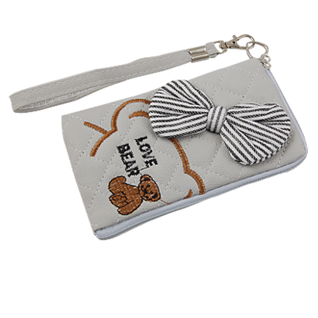Brown Bear Pattern Bowknot Decor Coffee Color Zipped Pouch Bag for Phone
