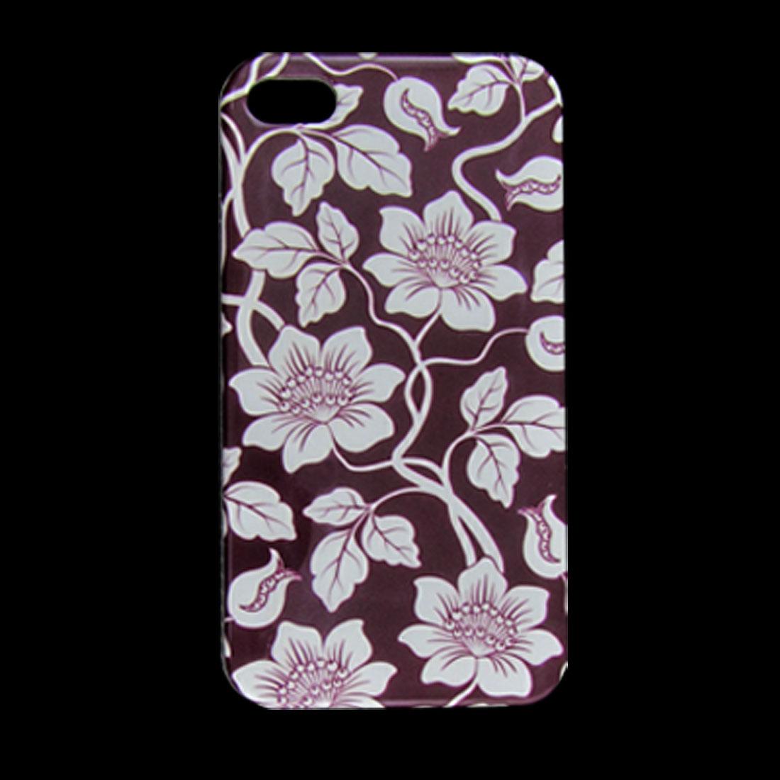 Floral Pattern Nonslip Side IMD Back Case Burgundy for iPhone 4 4G