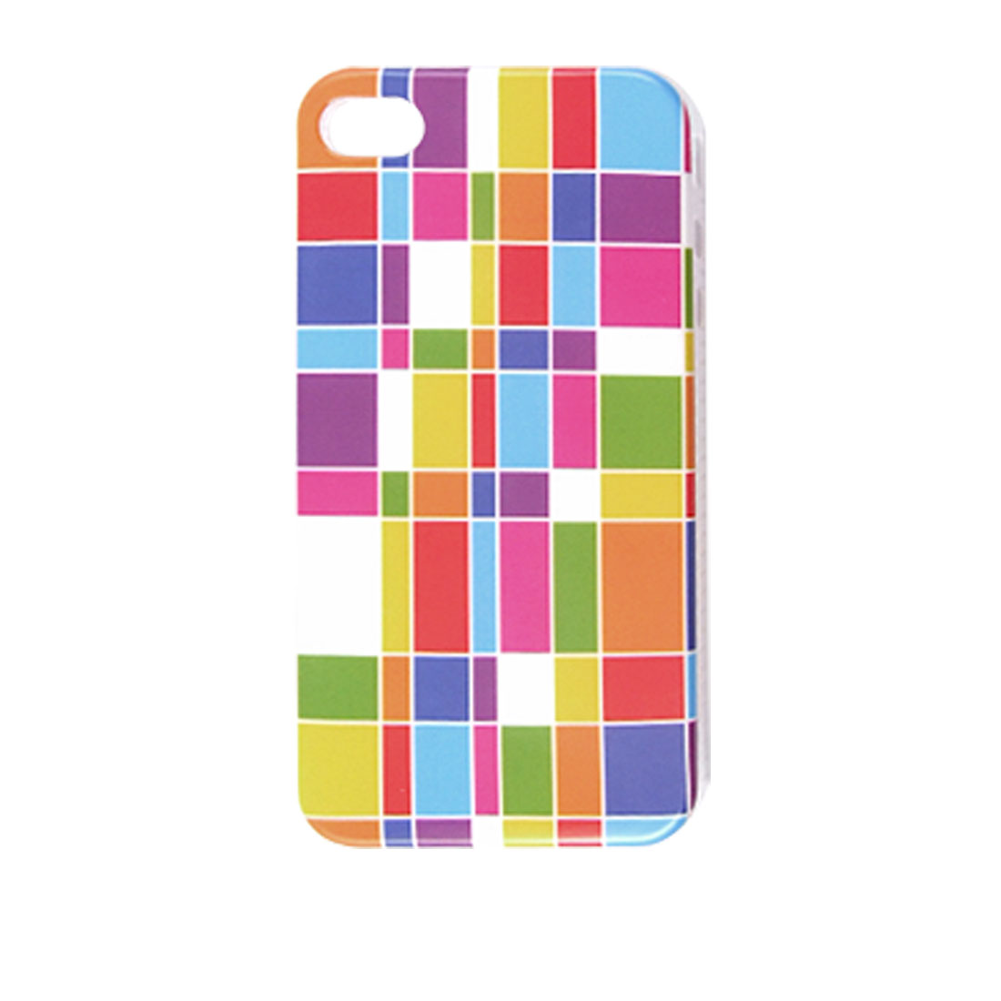 Colorful Rectangle Pattern IMD Back Case for iPhone 4 4G