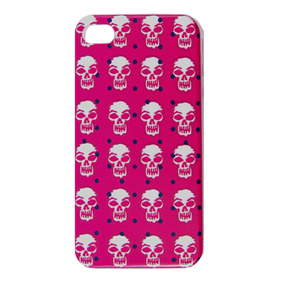 Nonslip Side Skull Pattern IMD Back Case Red for iPhone 4 4G