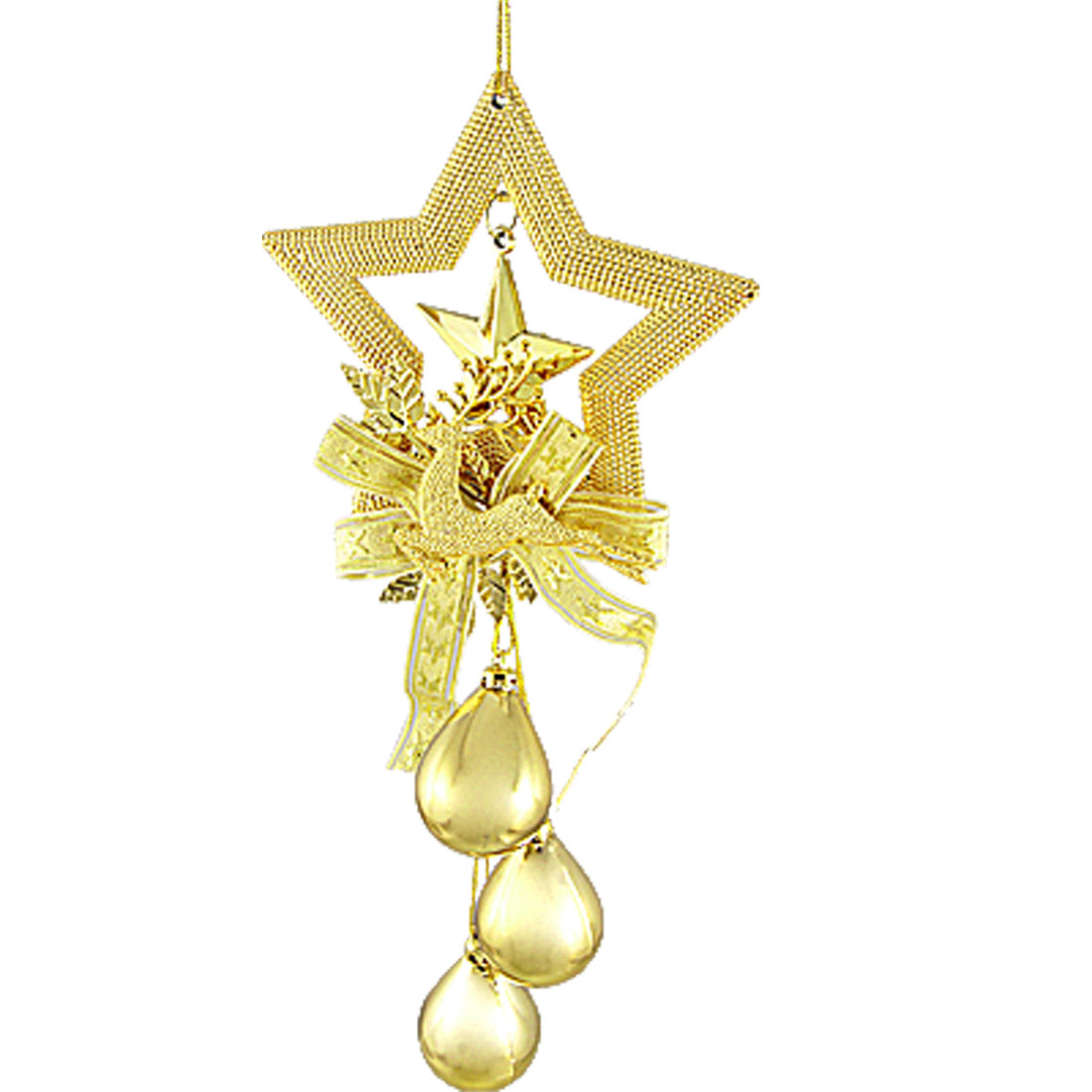 Gold Tone Egg Star Reindeer Pendant Christmas Tree Door Hanger