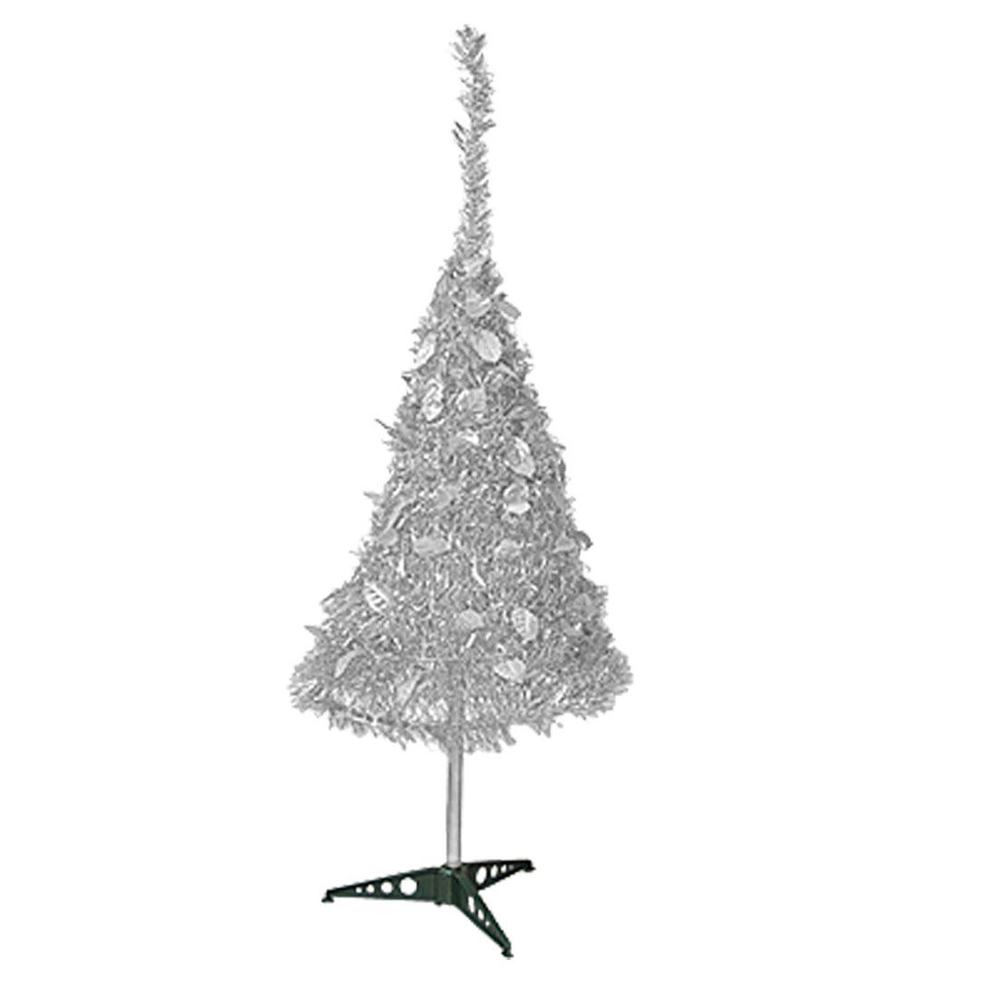 "41 3/4"" Silver Tone Shiny Tinsel Garland Foldable X'mas Christmas Tree Decoration"
