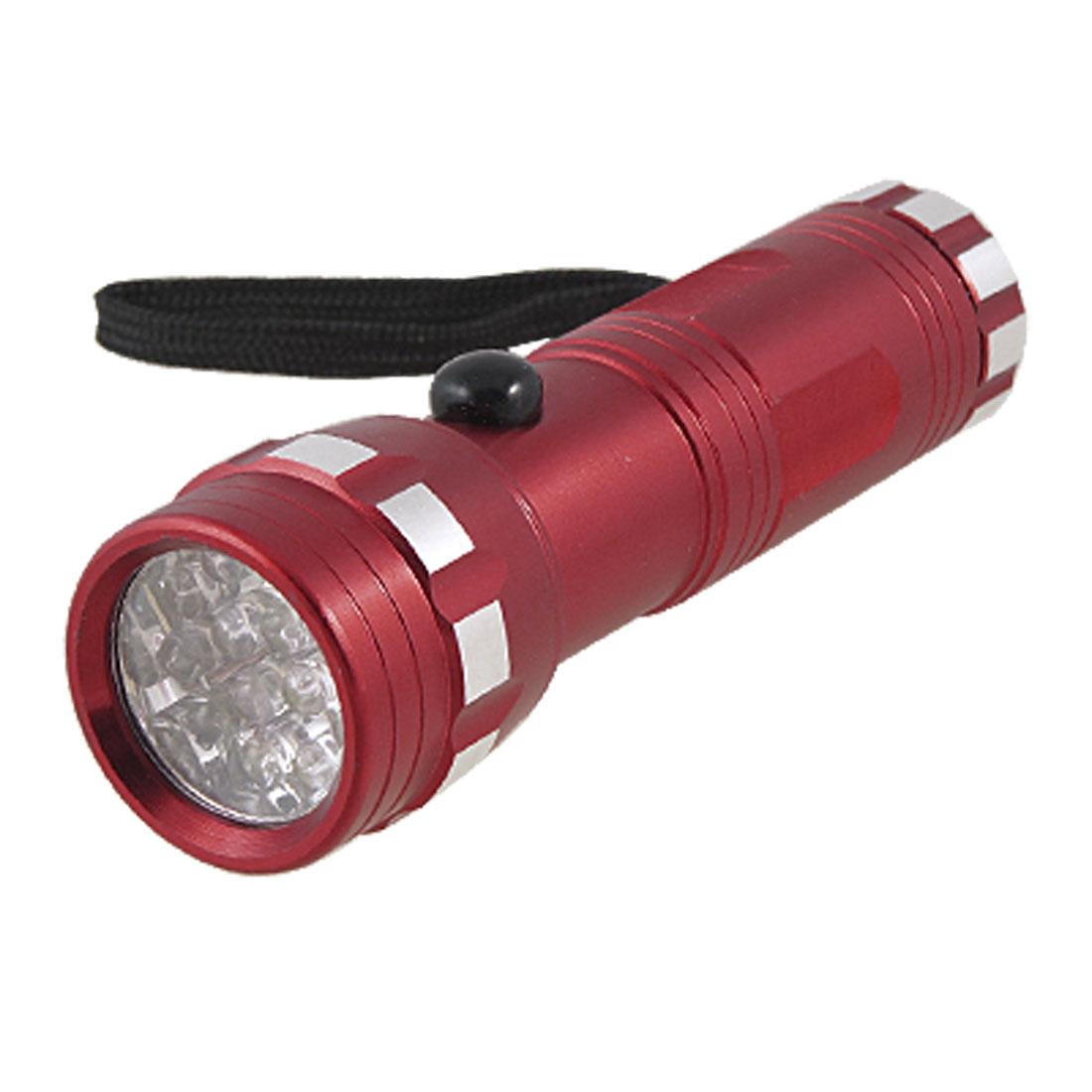Nonslip Burgundy Aluminum Shell 14 LEDs Mini Flashlight