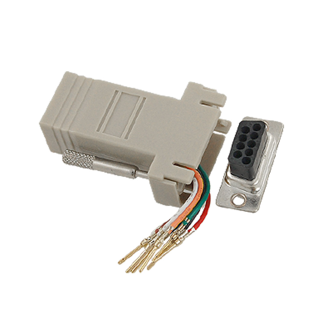 Computer DB 9 Pin Male to RJ45 Female Modular Adapter Connector 5 Pcs