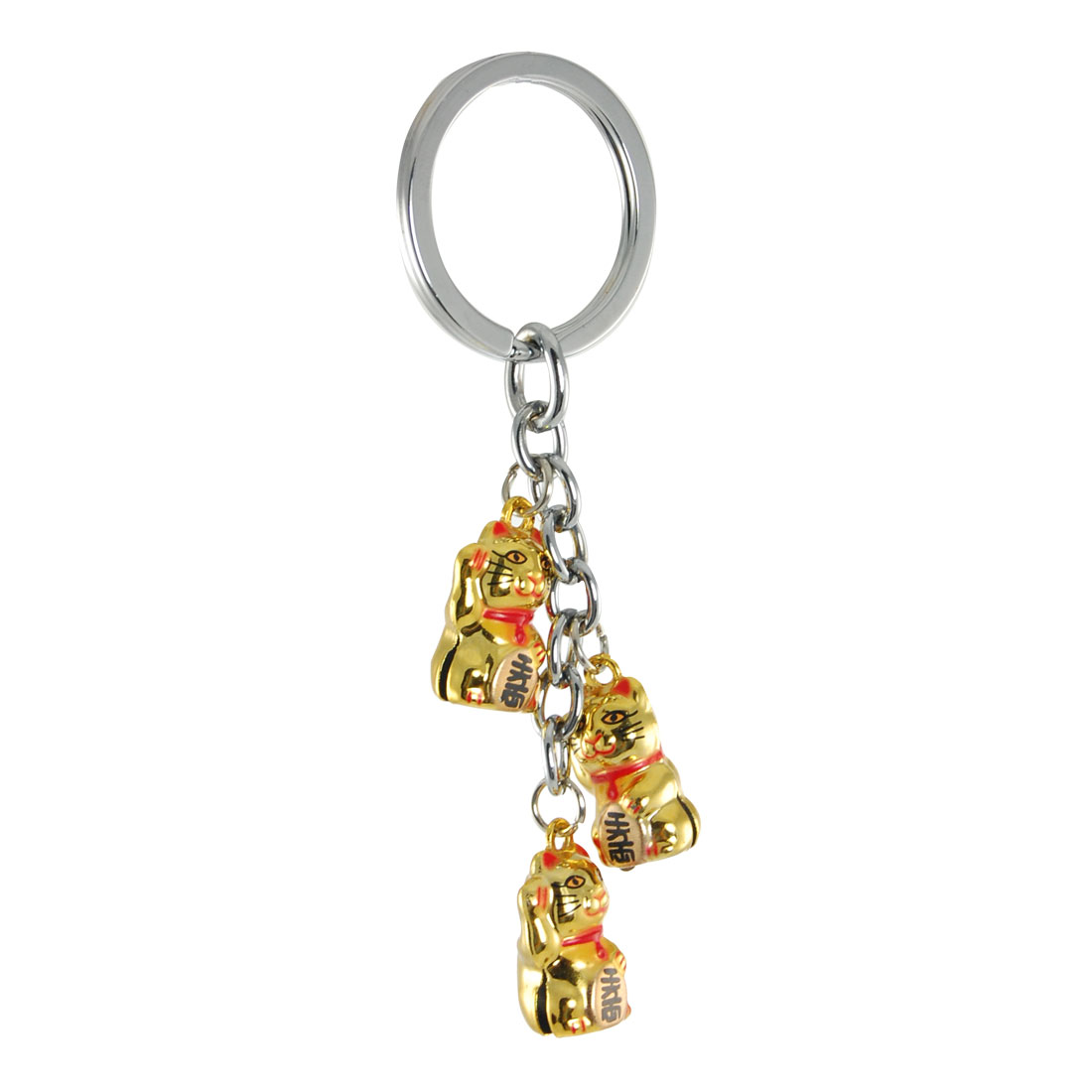 Handbag Red Necklace Gold Tone Maneki Neko Pendant Key Ring with Bell Sound