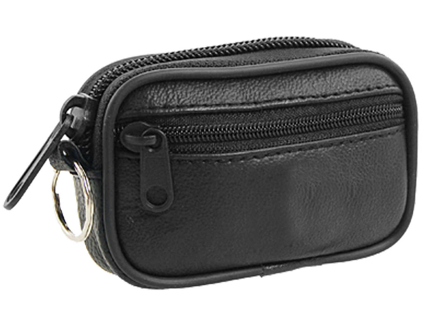 Zipper Closure Black Faux Leather Coin Purse w Key Ring