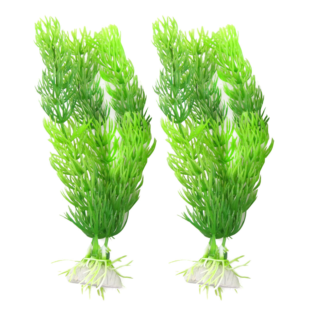 "2 Pcs 7.3"" High Green Plastic Grass Plant Decor for Fish Tank"