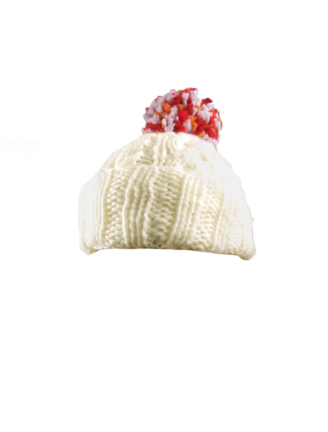 Tricolr Pom Pom Rool Up Cuff Off White Knitted Beret Hat for Woman