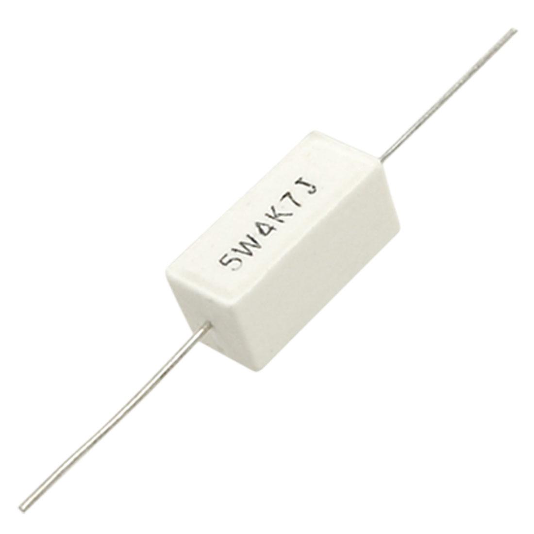 10 Pcs Ceramic Cement Power Resistors 4.7K 4K7 Ohm 5% 5W