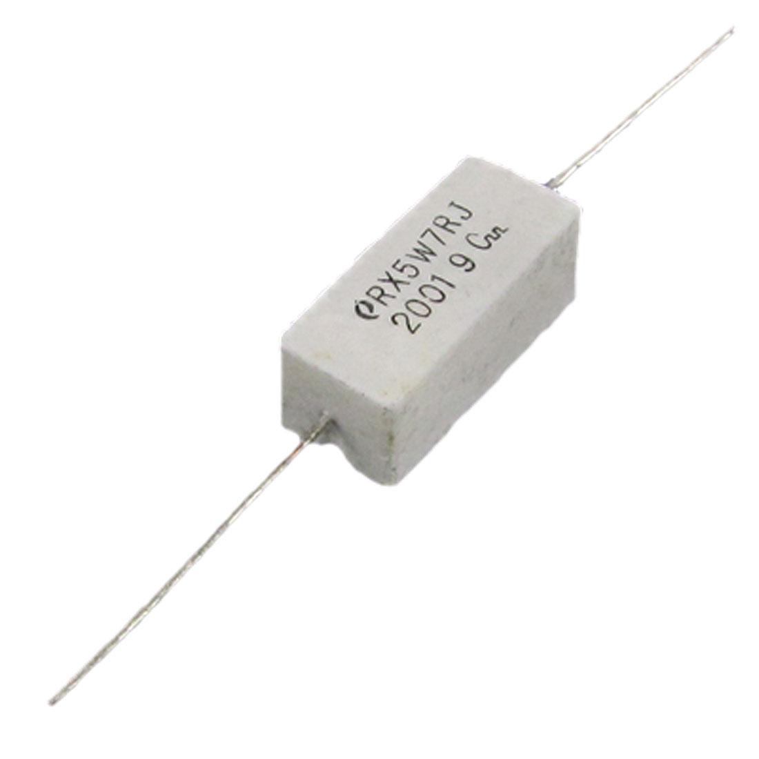 10 Pcs Wire Wound Ceramic Cement Power Resistor 7 Ohm 5W 5%