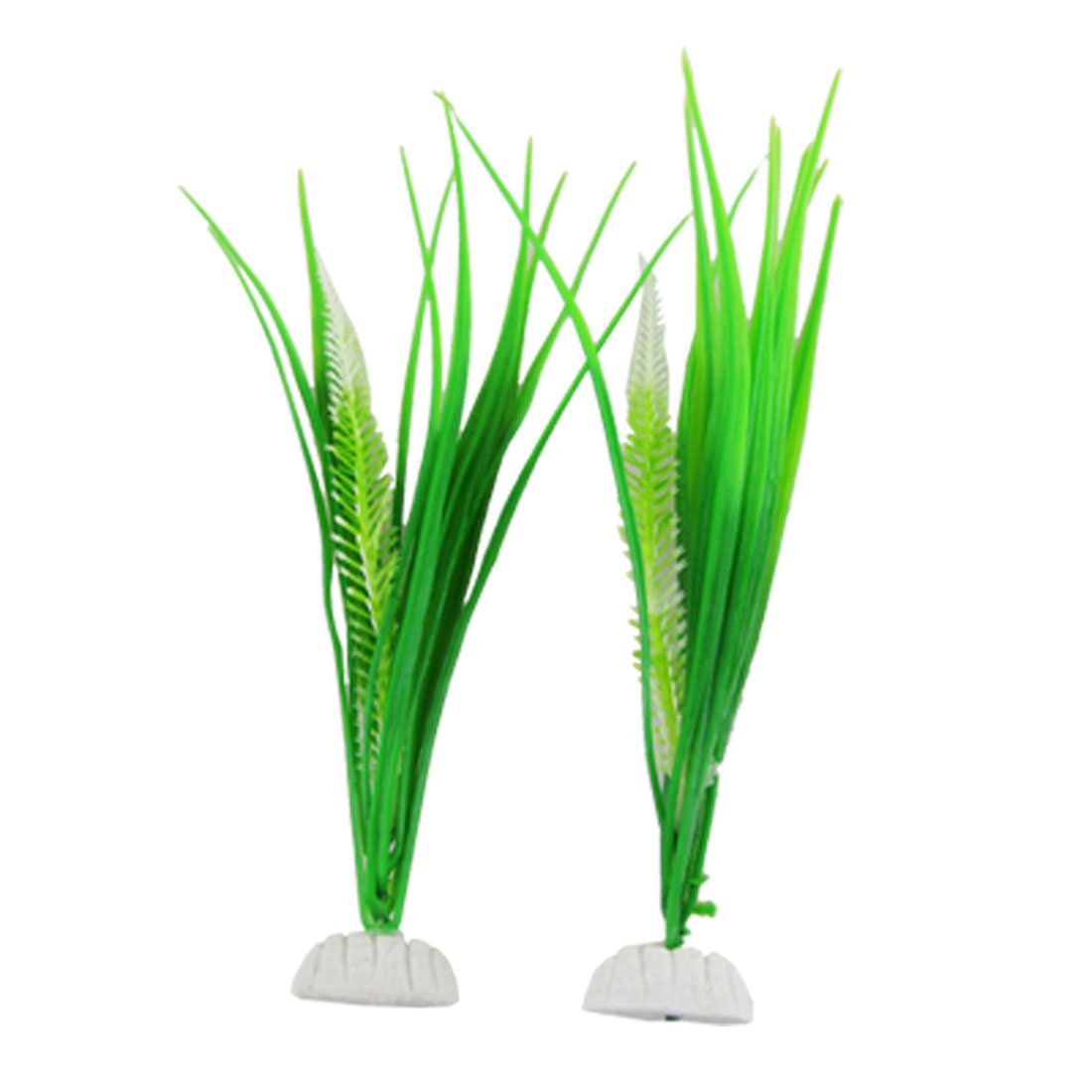 Fish Tank Green Plastic Plant Grass Decor Aquascaping 2 Pcs