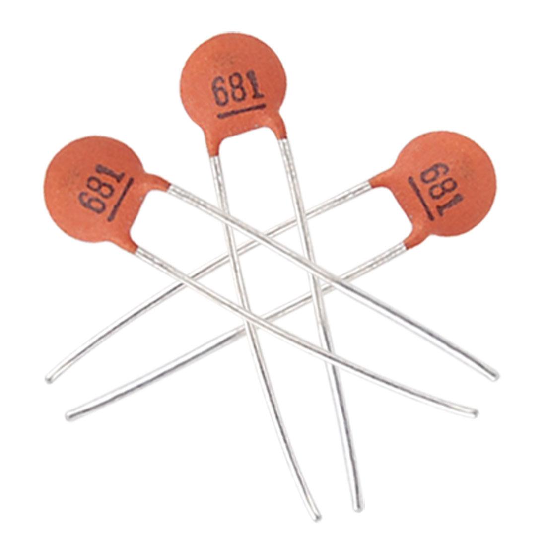 100 x 680pF 50V Radial Lead Low Voltage Ceramic Disc Capacitors