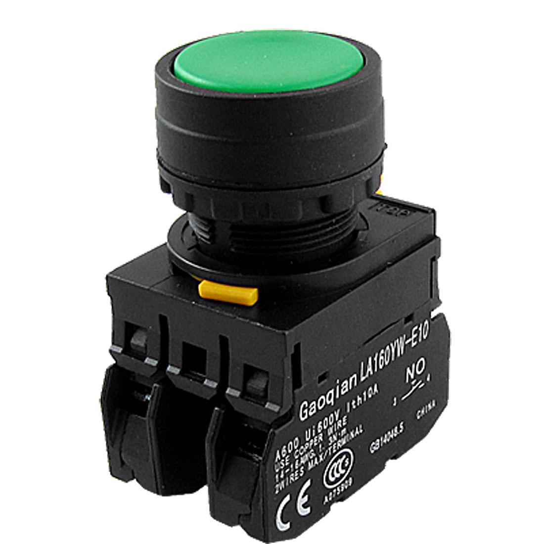 1 NO 1 NC Green Sign Signal Latching Push Button Switch Lock 22mm YW1B-A1E11PG