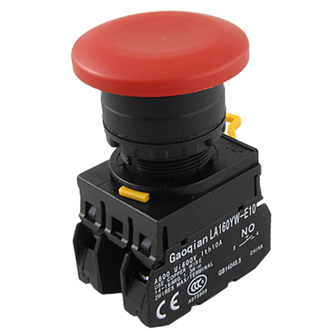Emergency Stop Momentary Action 1NC 1NO 4 Terminals Red Mushroom Push Button Switch