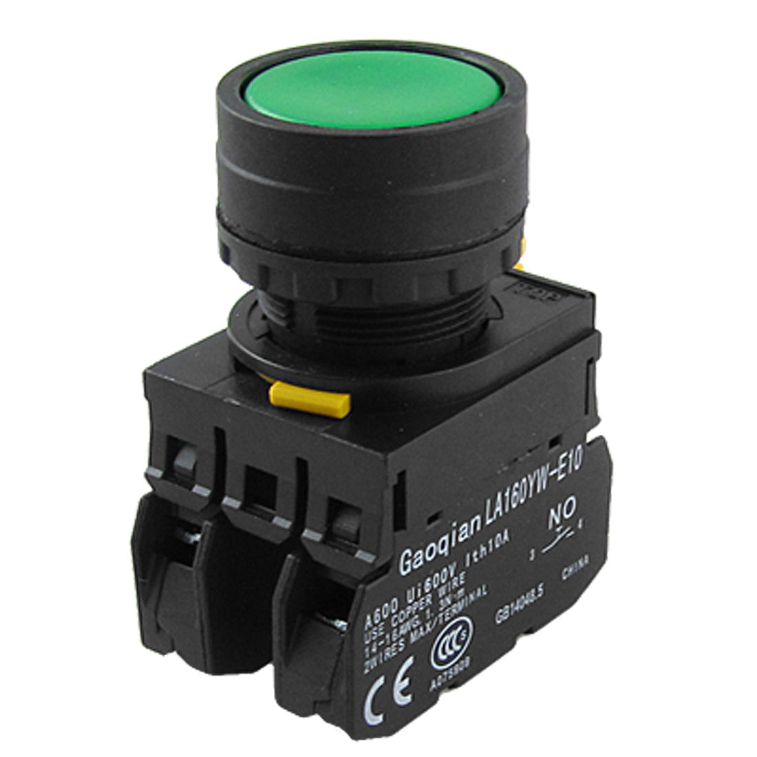 AC 600V 10A Green Sign Ignition Momentary Push Button Switch 1 NO N/O 1 NC N/C