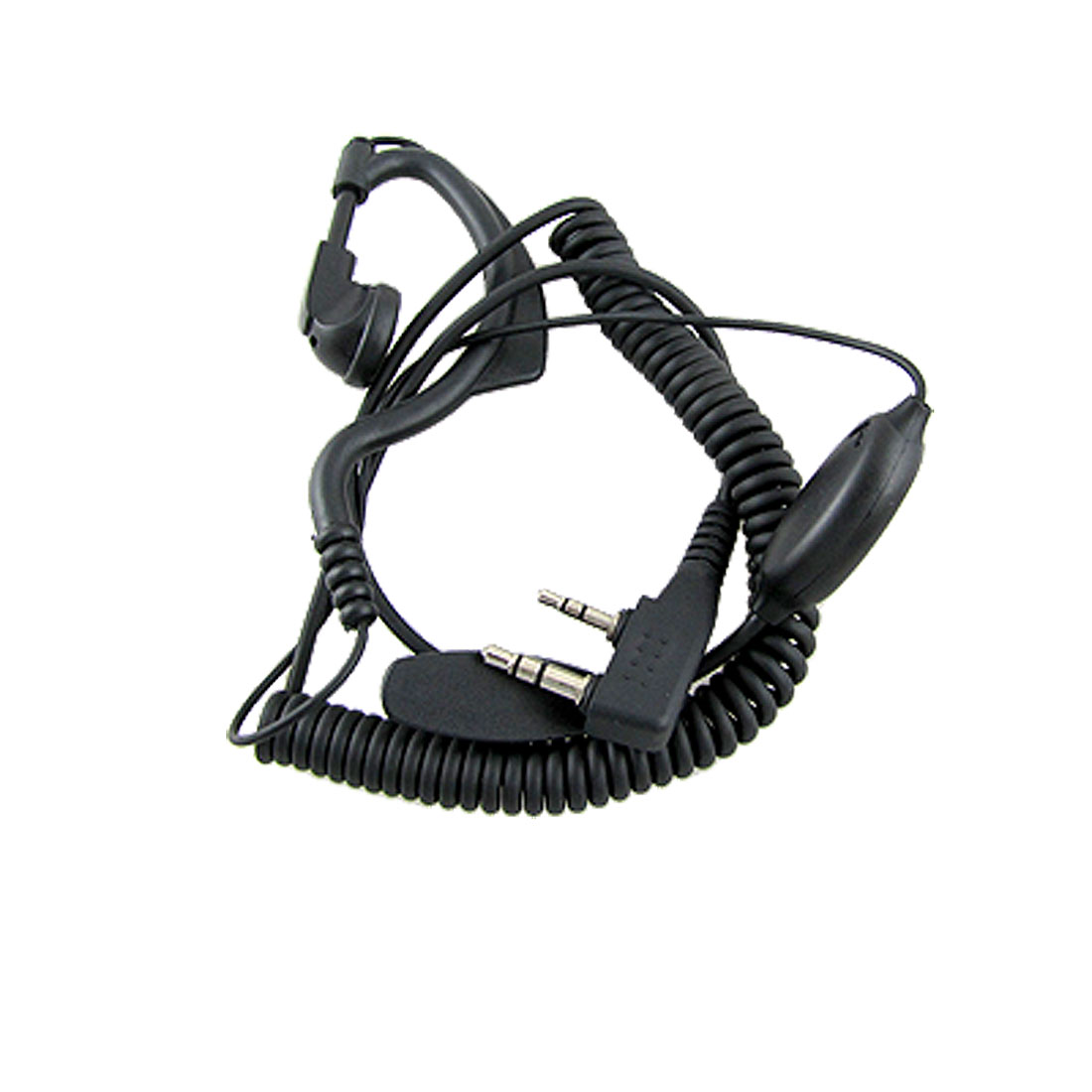 Ear Hanger 2 Terminals Mic Earphone Headset Black for Kenwood TK Series