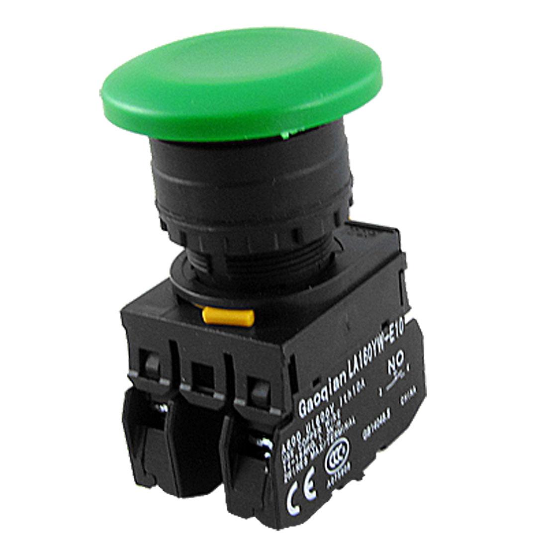 40mm Green Sign Momentary Mushroom Push Button Switch 1 NO 1 NC YW1B-M4E11PG