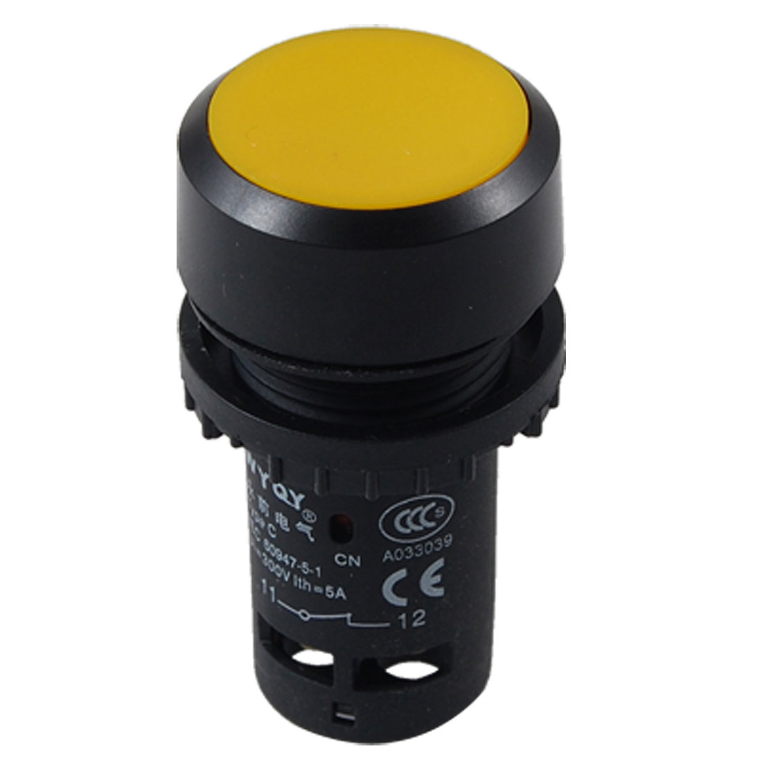 Yellow Button 4 Terminals Platic Momentary Type Push Switch
