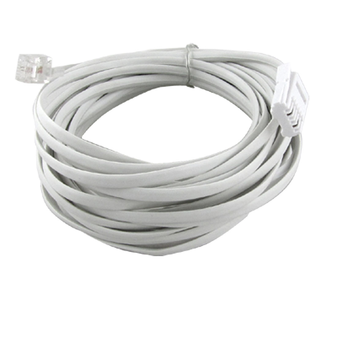 Fax Modem Telephone Extension Cable White 5M RJ11 to UK BT Plug