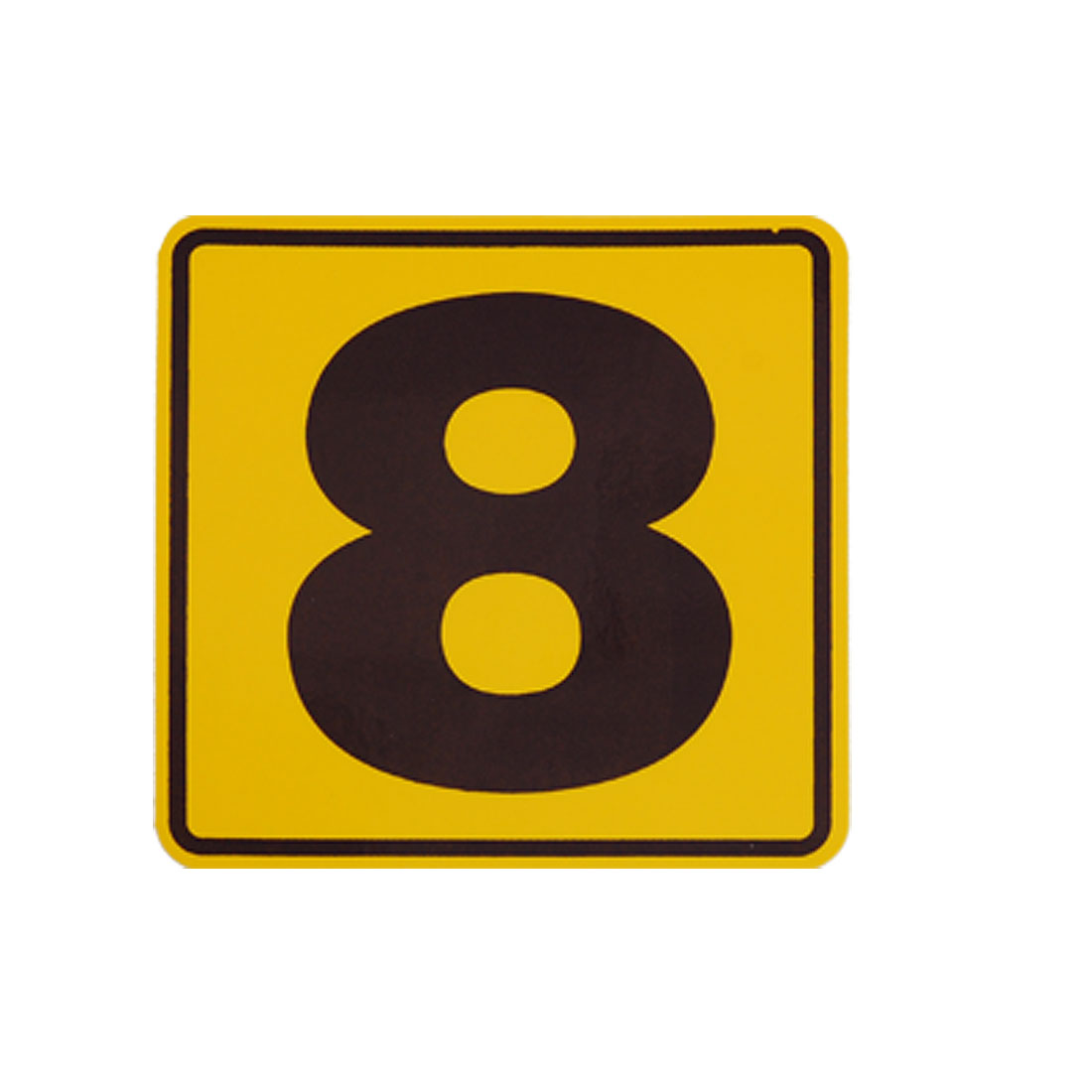 Car Black Yellow Number 8 Square Reflective Sticker Decal