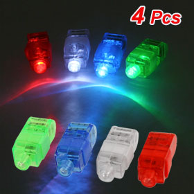 4 Pcs Color LED Beam Finger Ring Lights Beam Torch Christmas Party