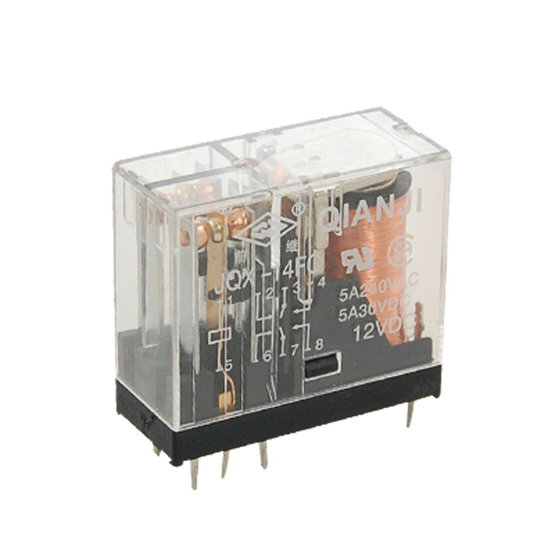 JQX-14FC G2R-2 DPDT 8 Pin Power Relay 12V DC Coil 5A 240V AC 30V DC Kohqj