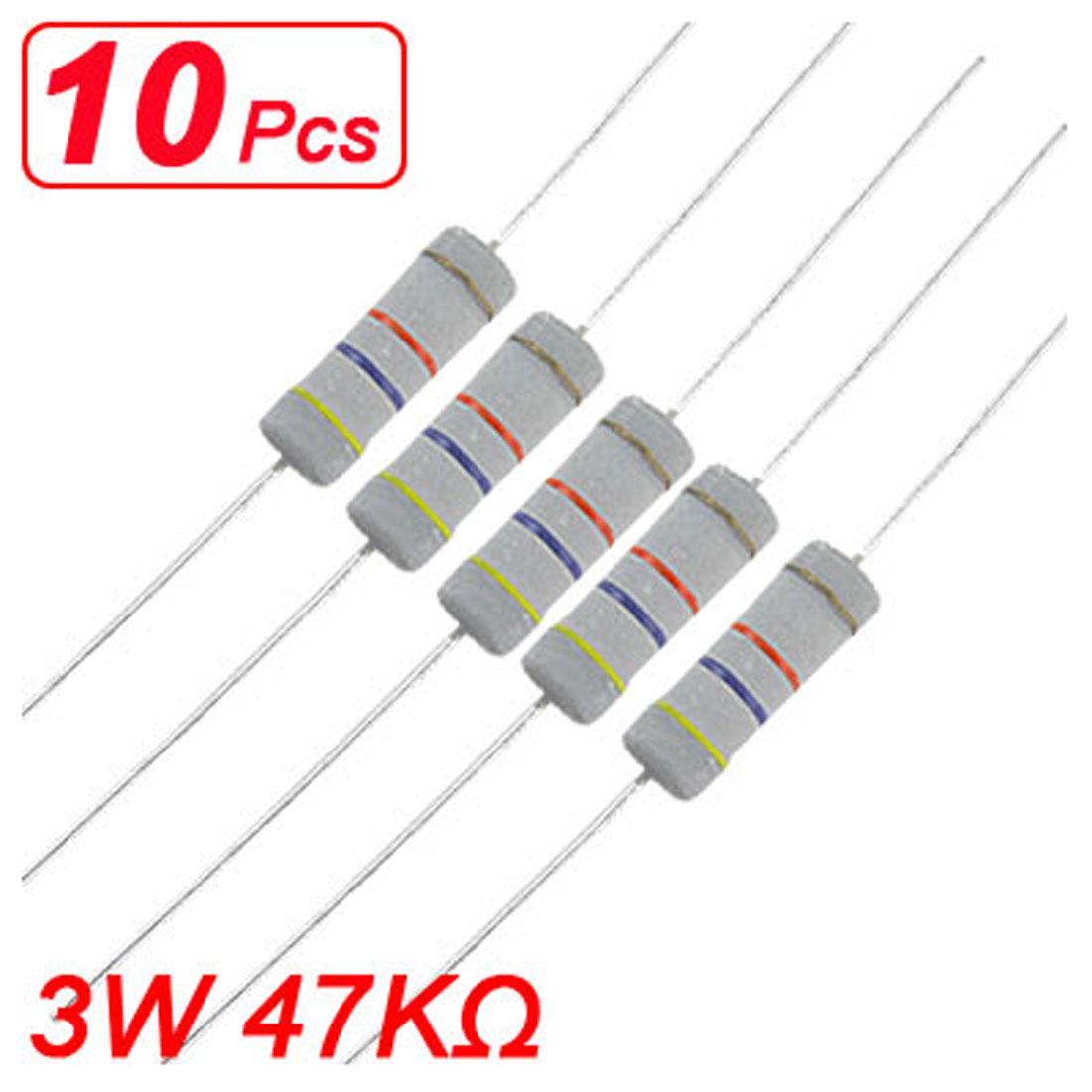10 x 3W 500V 47K ohm Metal Oxide Film Resistors Axial Lead