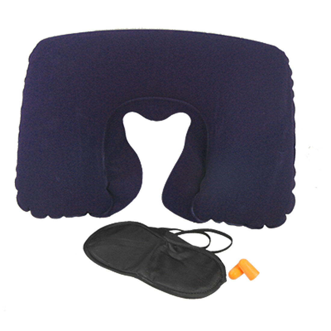 U Shape Air Cushion Head Neck Rest Inflatable Pillow w Eye Mask