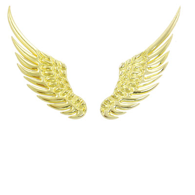 2 Pcs Gold Tone Angel Wings Style Car Emblem Logo Stickers