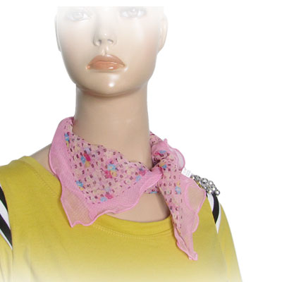 Women Flower Pattern Pleated Trim Pink Square Neck Scarf Head Wrap