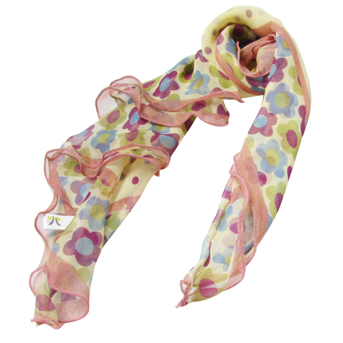 Women Colorful Dots Sunflower Print Yellow Head Wrap Square Scarf