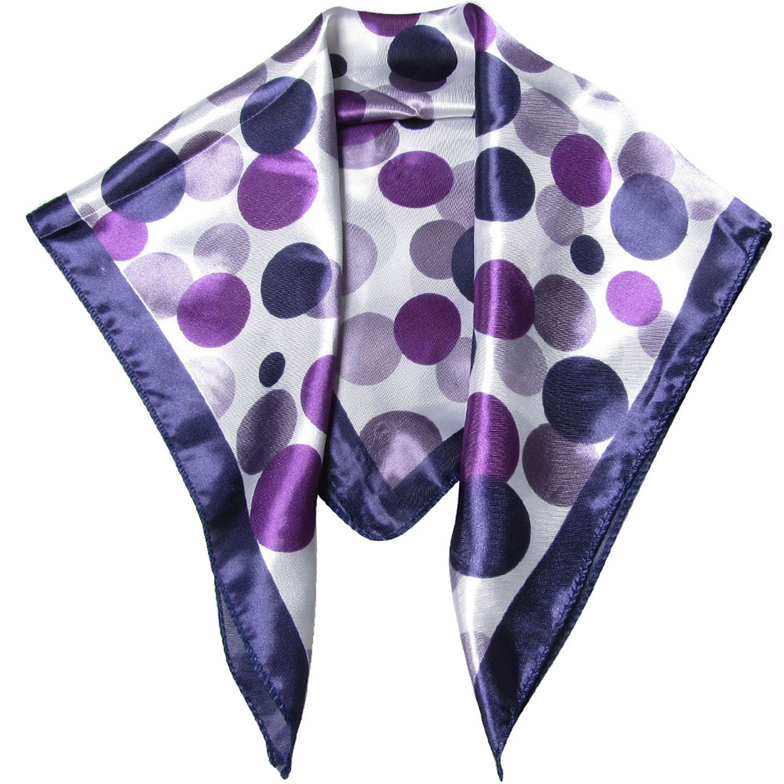 Women Purple White Dotted Neckerchief Scarf Head Wrap Kerchief