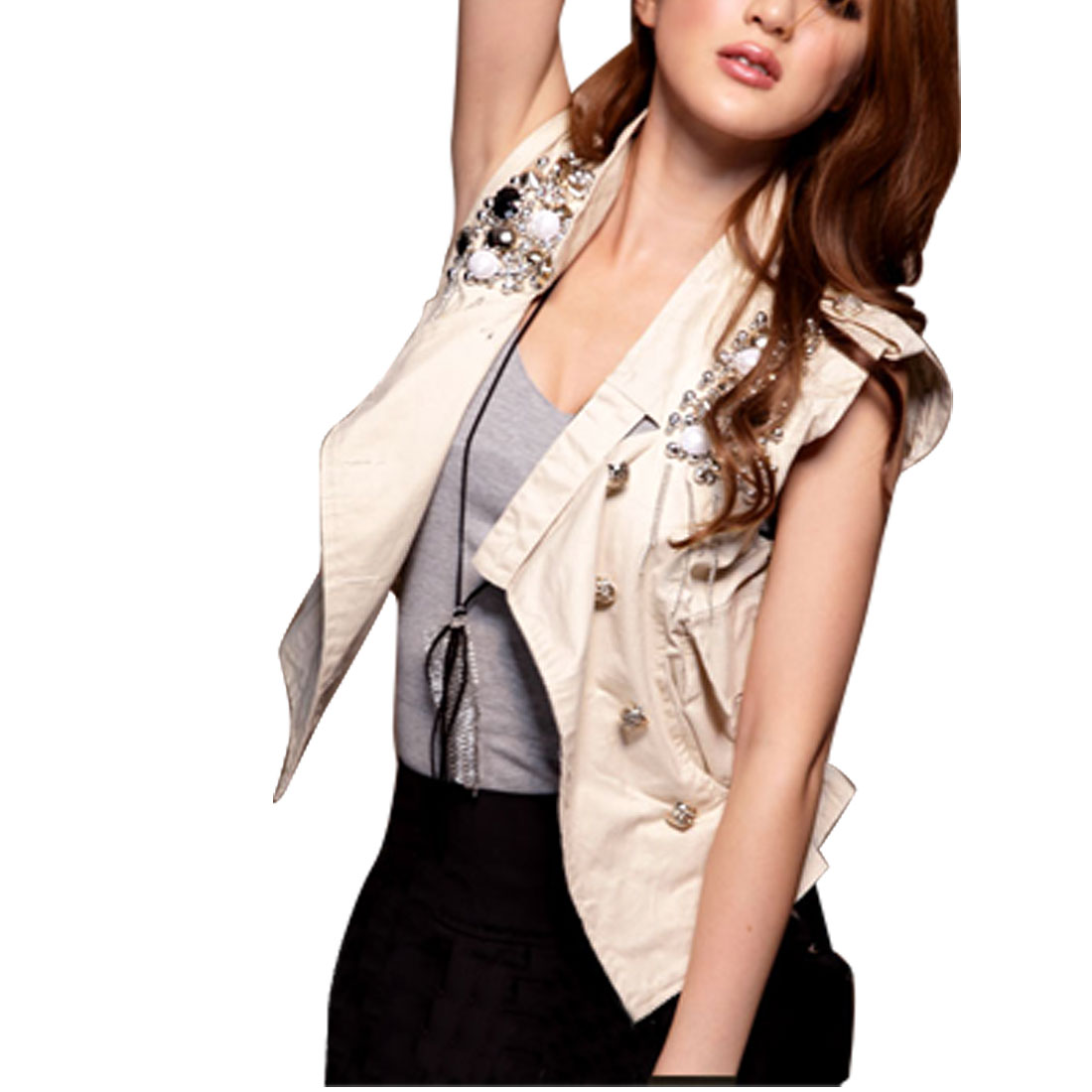 Women Stand Collar Beads Accent Elastic Hem Buttons up Beige Vest XS