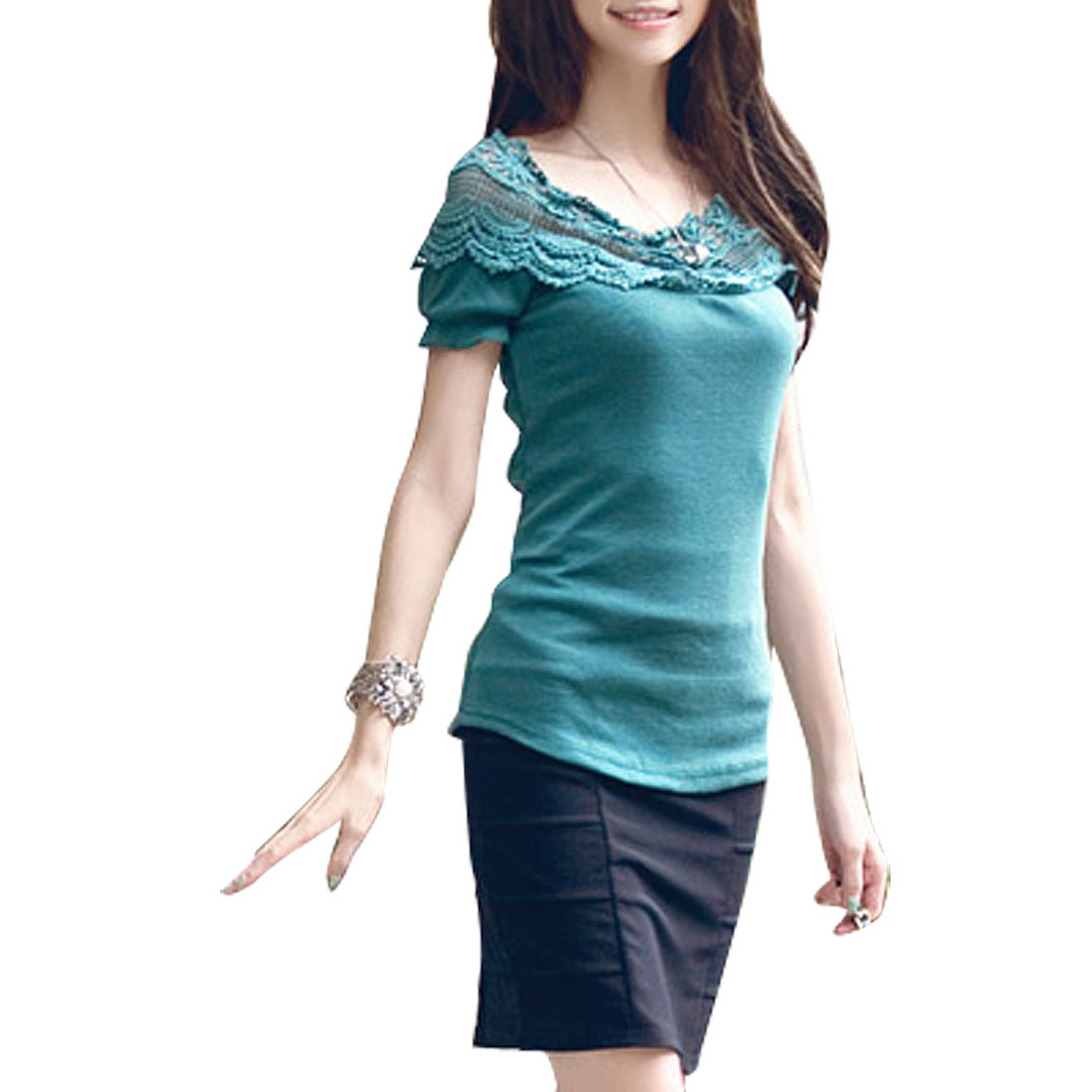 Woman Crochet Floral Neckline Boat Neck Short Sleeve Green Top XS