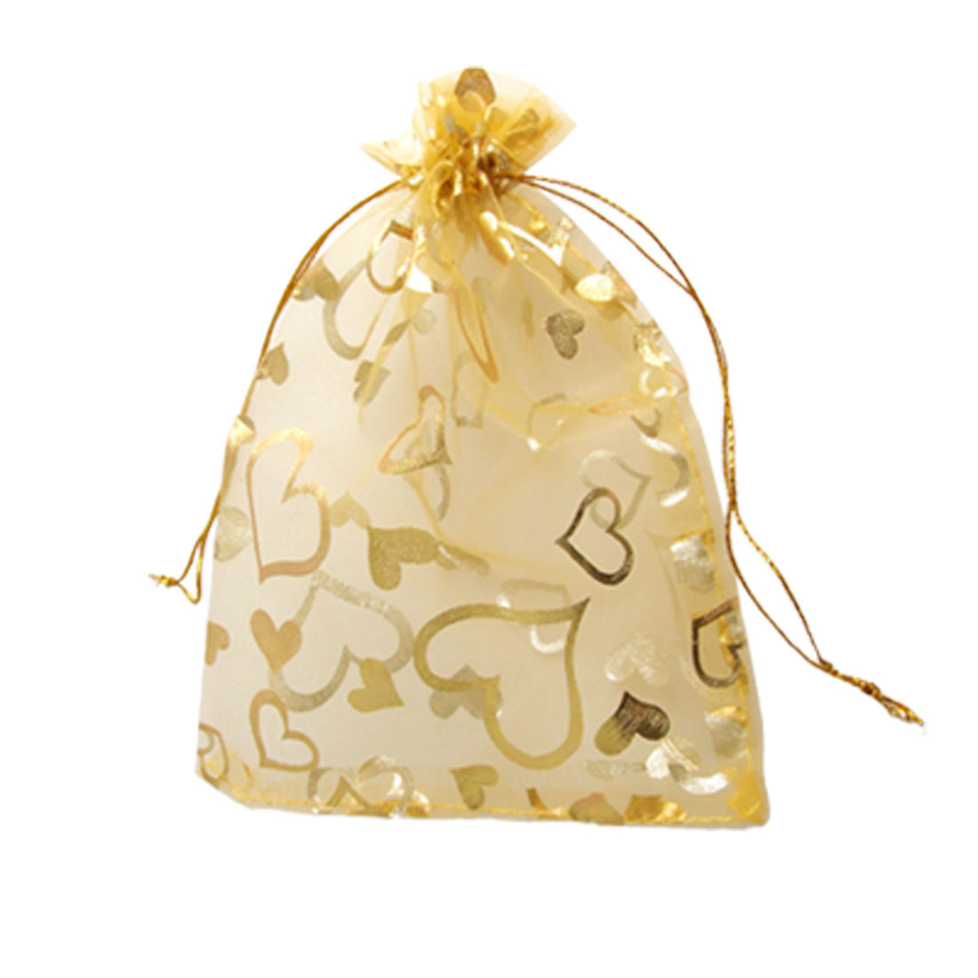 5 Pcs Heart Pattern Wedding Gift Bag Organza Pouch Gold Tone
