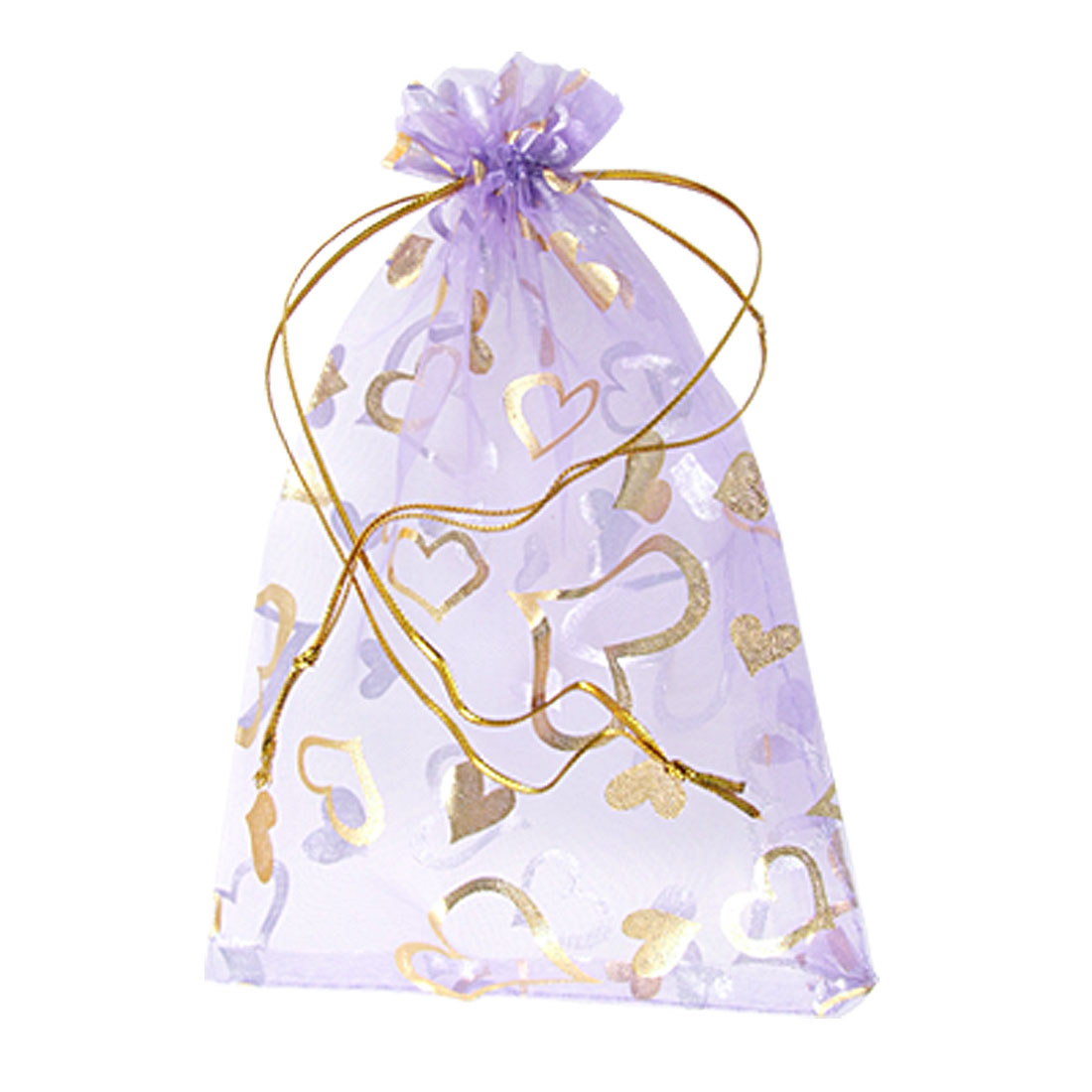 5 Pcs Heart Pattern Wedding Gift Bag Organza Pouch Lavender