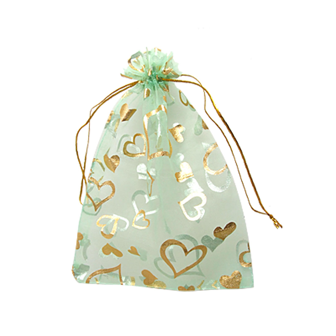 "5 Pcs 7"" x 5"" Heart Print Wedding Xmas Organza Pouch Bag Green"