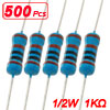 500x 1K Ohm 1% 1/2W Watt Metal Film Resistors 1/2 Watt