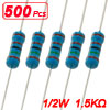 1/2W 1.5K Ohm 1K5 1% Axial Metal Film Resistors 500 Pcs