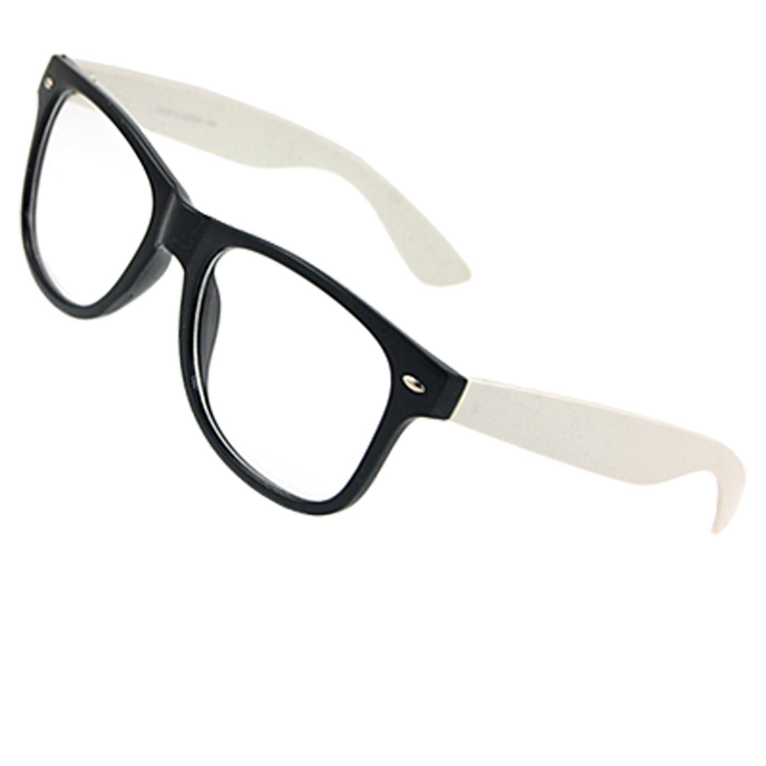 Lady Man White Arms Black Full Rim Plain Lens Spectacles