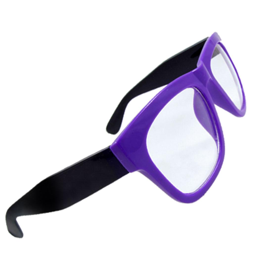 Women Black Wide Temples Purple Plastic Rimmed Clear Lens Glasses