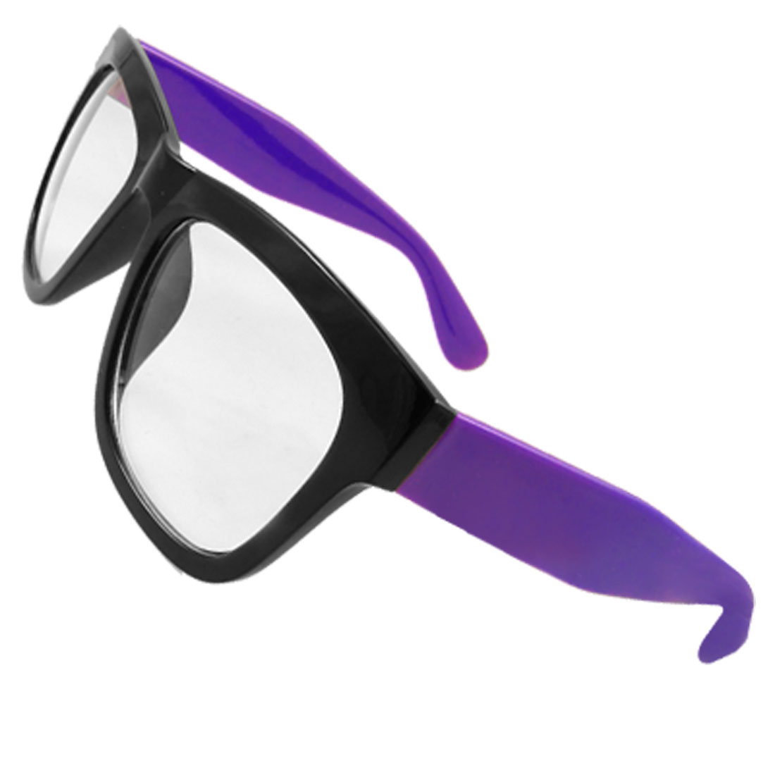 Women Oversized Lens Black Plastic Full Frame Purple Arms Plain Glasses