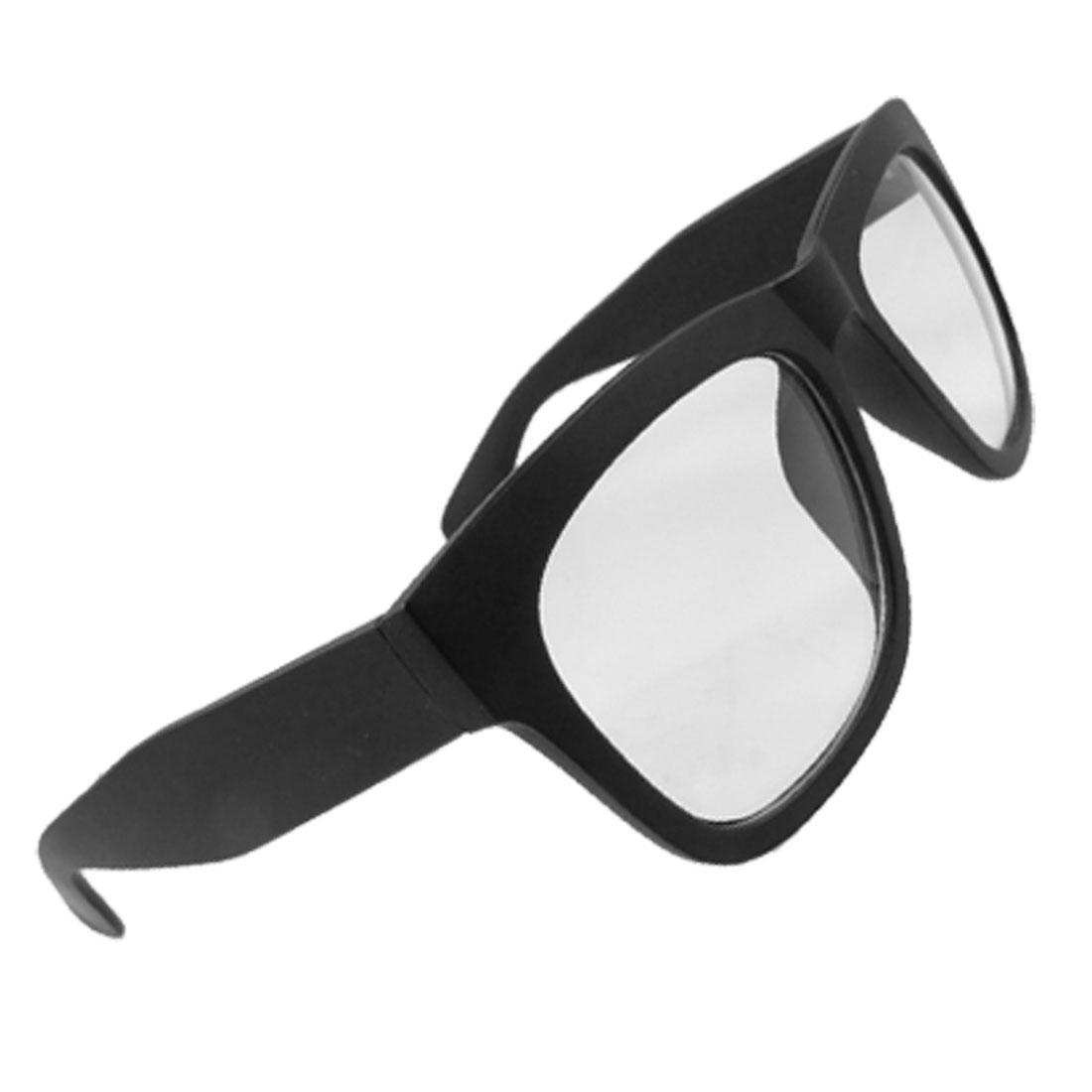 Women Black Rubberized Plastic Full Frame Wide Arms Plain Glasses