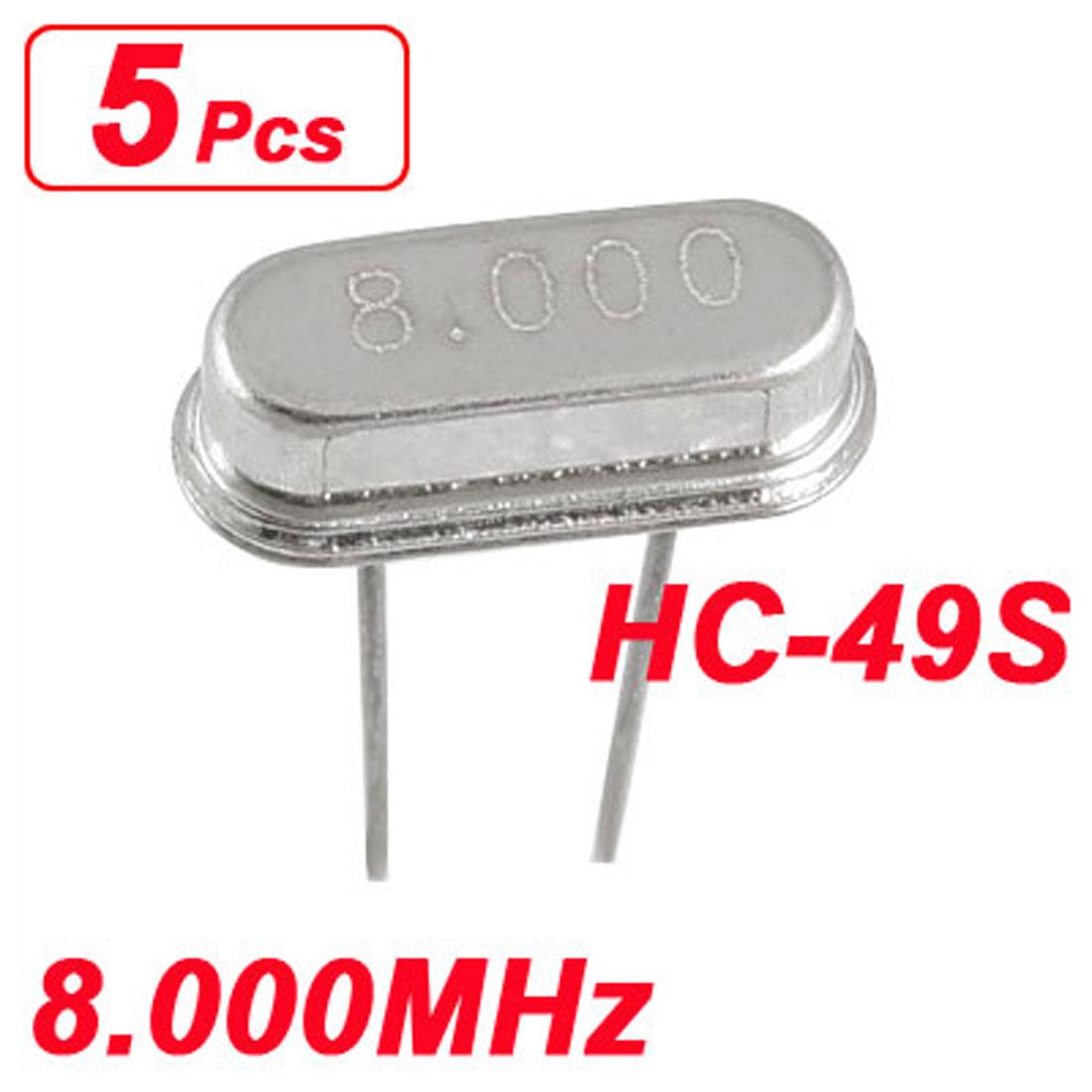 5 x 8.000 MHz 8 MHz Crystal HC-49S DIP Mounting Crystal Oscillator