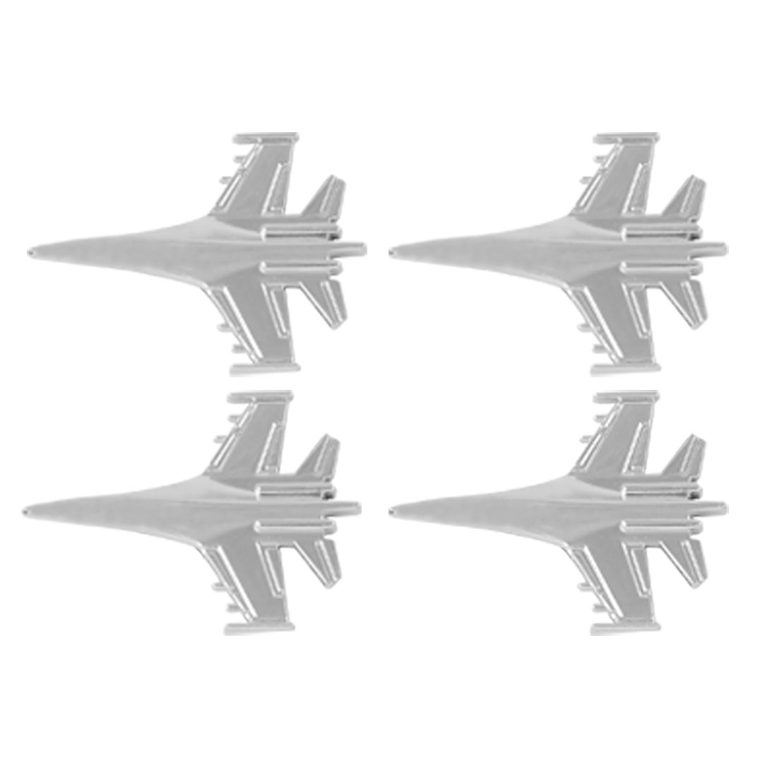 Vehcile Car 4 Pcs Plastic Silver Tone Plane Shaped 3D Stickers