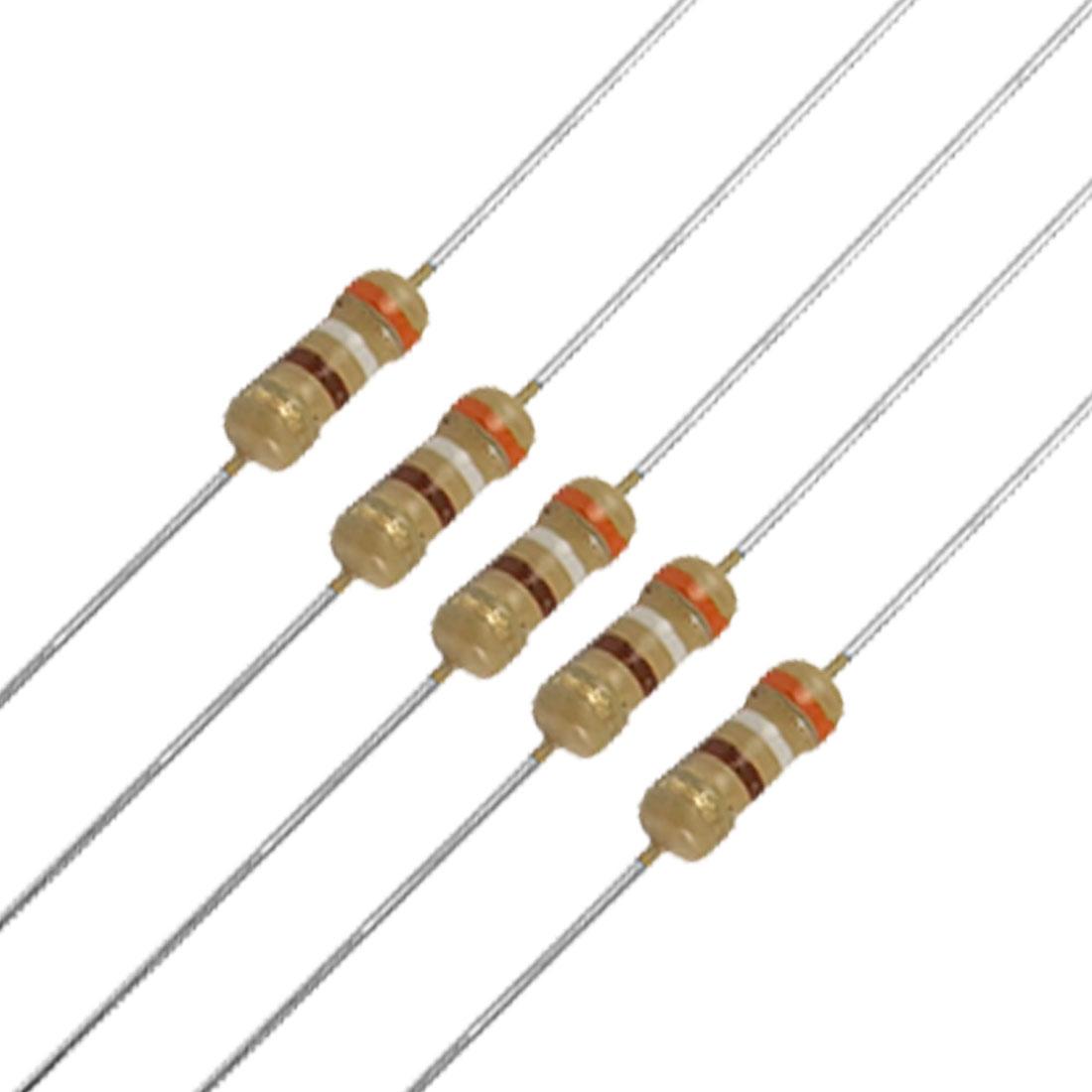 100 x 1/4W 250V 390 Ohm Axial Carbon Film Resistors