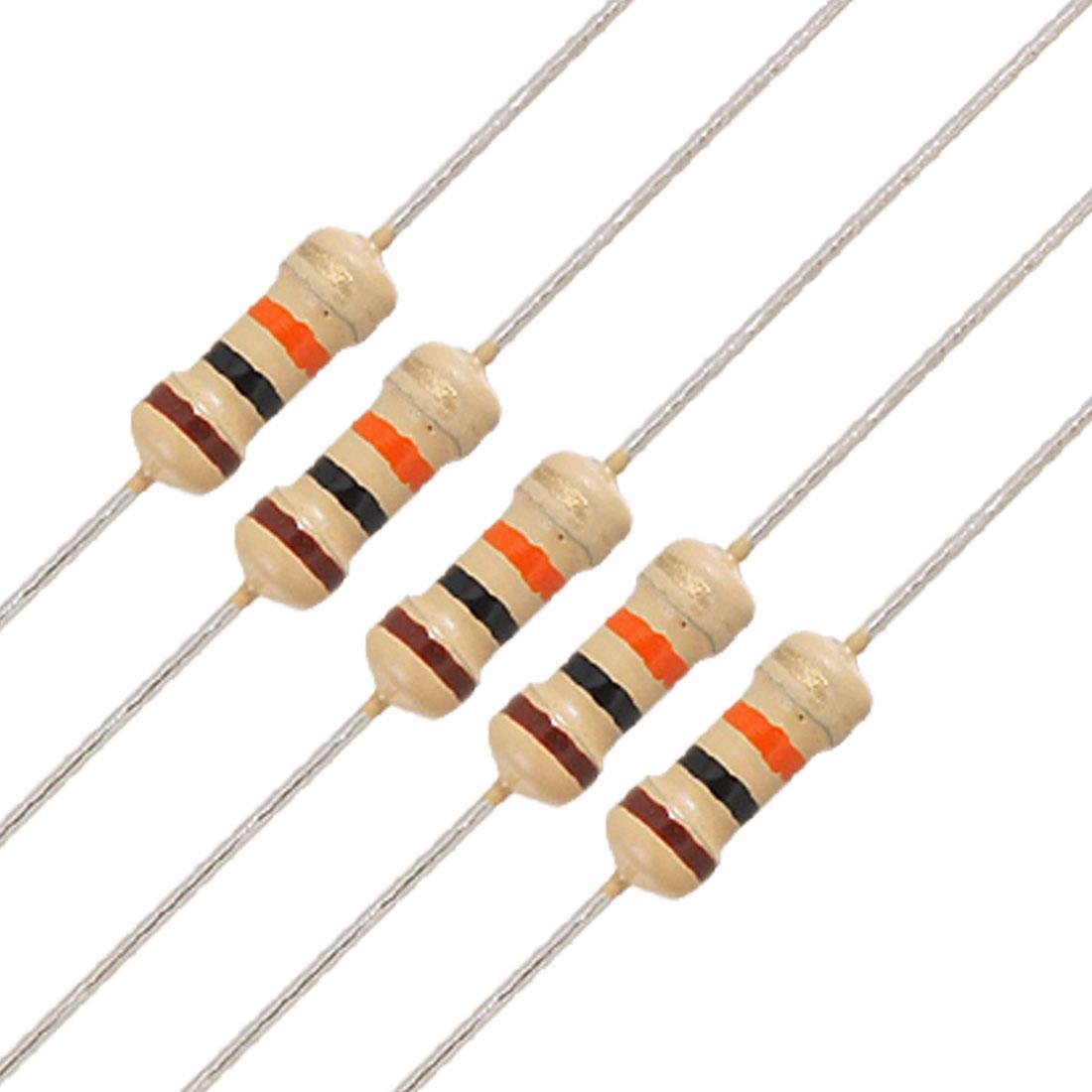 50 x 1/4W 250V 10K Ohm Axial Lead Carbon Film Resistors