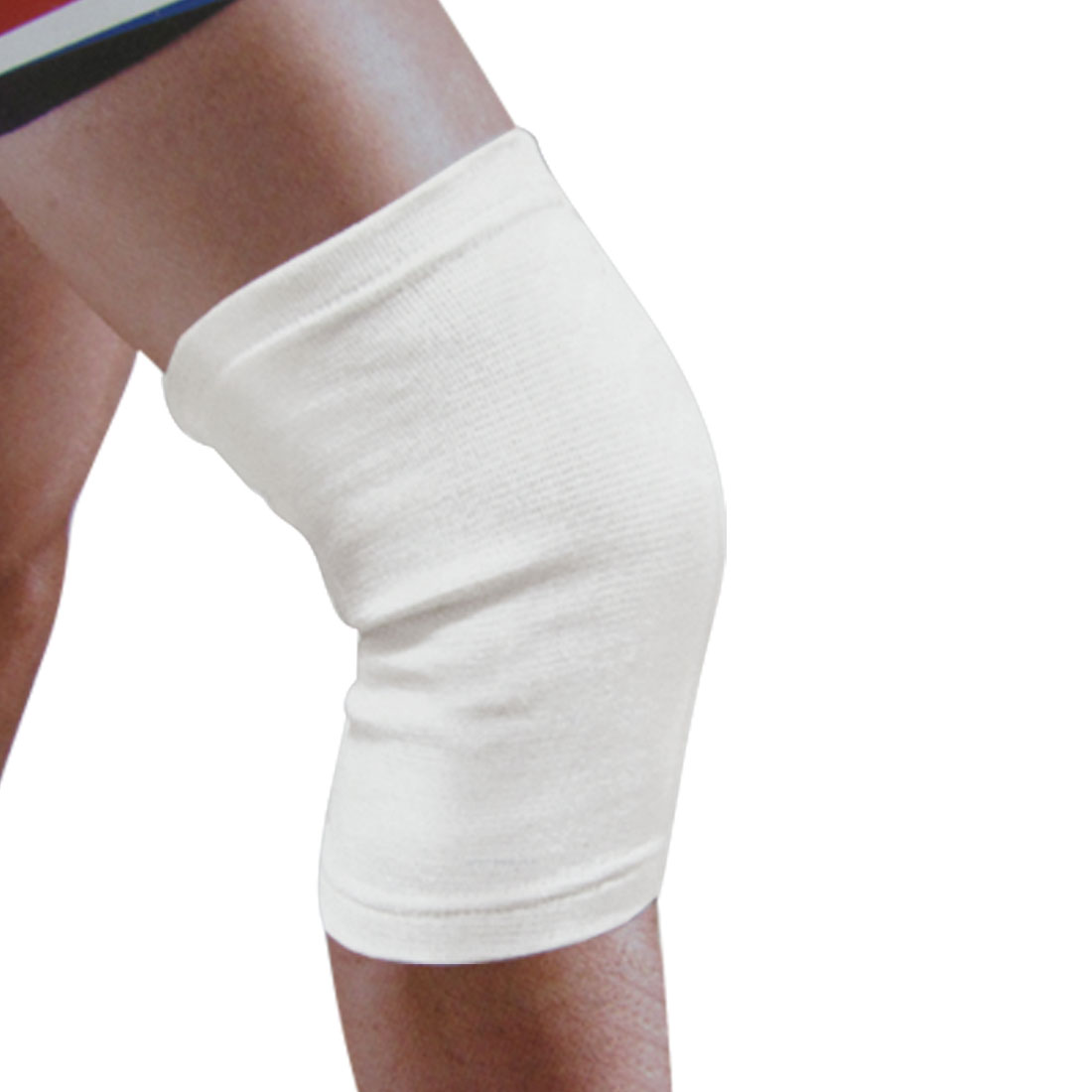 Gym Exercise White Sleeve Stretchy Knee Support Brace