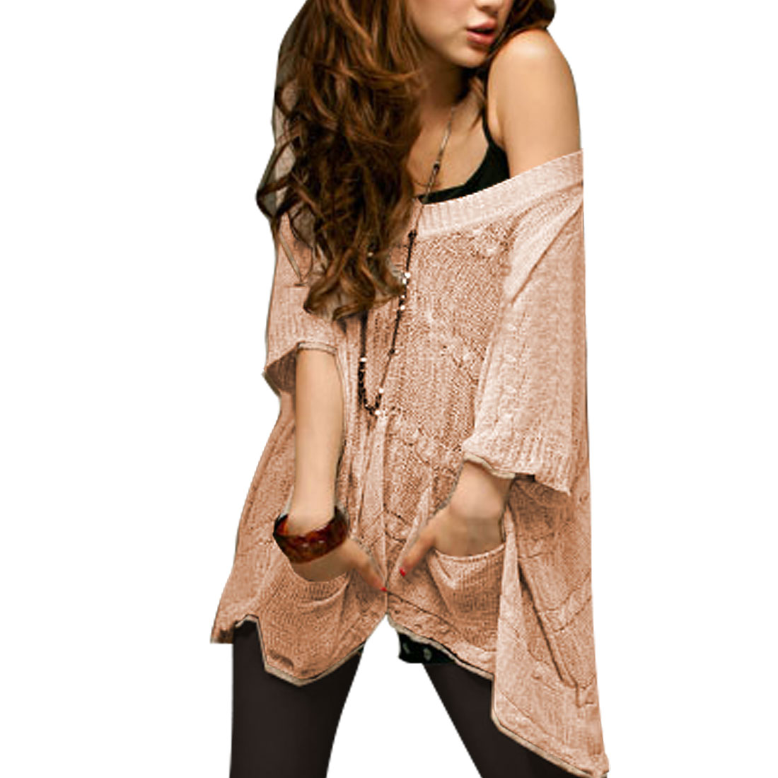 Women Light Pink Half Sleeve V Neck Rib Knit Shirt Blouse S